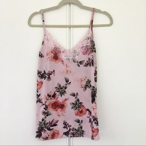 Faith and Joy Tops - Pink Floral Lace Cami